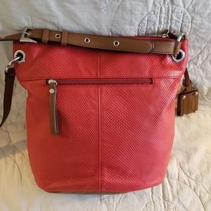 Tignanello Crossbody Handbag in Red and Tan Leathe